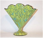 Czech 8 inch tall robin's egg blue cased and chartreuse mottled  fan vase w/black rim in stunning color combo.  Excellent condition. These great fan vases are pieces are getting hard to find, as fewer were made and remain in excellent shape.