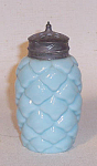 "This Consolidated blue opaque Pine Cone salt shaker has its original top and measures 3 1/4"" tall to tip of top.  A well know and very collectable pattern from Consolidated's early period. An example of the splended color created by Nicolas Kopp when he worked there. Excellent condition. No damage."