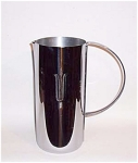 Shown on page 86 of the 1999 book titled Art Deco Chrome, this marked Revere Chatham (No. 142)  Water Pitcher stands 9 inches high x 4 inches in diameter. It was most likely designed by the talented William Archibald Welden who designed the Claridge Ice bucket which carries the same motif chased into the chrome on the front. This stunnning Revere pitcher is signed with the stanard Revere Rome mark on the bottom. It is in excellent condition. A great shape, a great company, a great Deco piece. Add it to your Art Deco collection today.