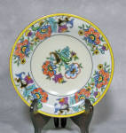 This Noritake Art Deco 6 1/2' wide footed compote is a good example of how wide was the inspiration for some of Noritake's decorators. This piece is done is the style of many of the English pieces of the time.  The color palette of oranges, yellow, purples will be familiar to collectors of Carlton for example. 