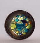 Made by well-known San Francisco artist Win Ng and signed with his name and San Francisco, this beautiful 4 inch wide low bowl is a masterpiece of enamel. A Chinese American gay artist, Win Ng (1936-1991) was the subject of a recent 2005 retrospective at the Chinese Historical Society of America.   