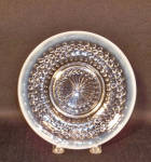 This set of 6 1/4 inch diameter sherbet or underplates is part of the Moonstone line made by Hocking Glass Company from 1942 to 1946.  One usually sees the bowls and ruffled rim pieces. In excellent condition, this set of 5 sherbet plates would look great on a holiday table.  Think red velvet cupcakes for the Fourth of July!  They can seen on pages 155-156 of Mauzy's Depression Glass Book (1999) where they are priced back then at $5 each!  My price is much much lower as I found them quite reasonably.  Go green! Save resources and purchase a piece of America's past. Sturdy, dependable, dishwasher-friendly, it is ready for your kitchen table today.