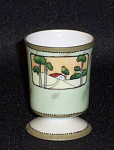 Nippon footed pedestal cottage scene. This is the very one pictured in the book, Toothpick Holders: China, Glass & Metal and listed as H4 #469. Purchased at the 1986 NTHCS Iowa convention.