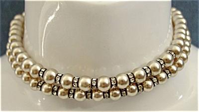Dbl Strand Faux Pearls w/ Rhinestone Rings Choker (Image1)