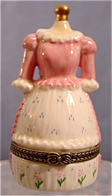 Pink and White Victorian Style Dress Trinket Box (Image1)