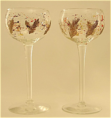 2 Long Stem Hand Painted Wine Glasses (Image1)