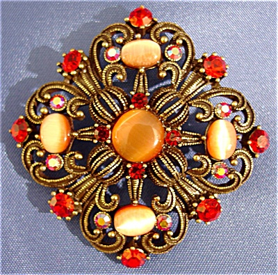 Orange Passion Vintage Inspired Catseye Brooch (Image1)