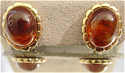 Turtle Bay Collection Tortoise-Tone Cabochon Pierced Earrings by Avon (Image1)