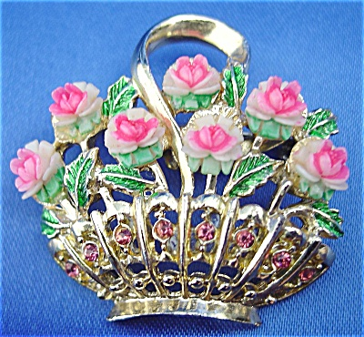 Golden Basket of Pink Roses Brooch (Image1)