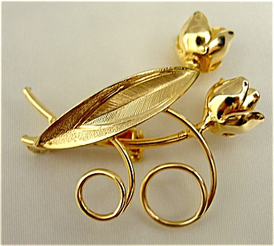 Two Golden Tulips Brooch (Image1)