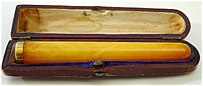 Victorian Amber Cigarette Holder With Case - France
