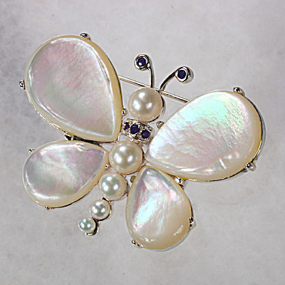 Genuine Mother-of-Pearl, Freshwater Pearl & Sapphire Sterling Silver Butterfly Pin (Image1)