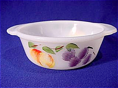 Anchor Hocking Hand Painted Fruits on Round  White Casserole Dish. by Fire King (Image1)