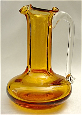 Vintage Miniature Amber Glass Pitcher (Image1)