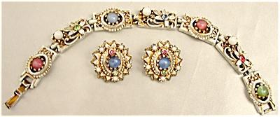 Coro White Enamel Rhinestone & Cabochan Bracelet & Earrings Set (Image1)