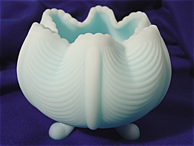 Fenton Satin Powder Blue Rose Bowl (Image1)