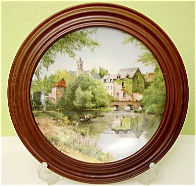 """Michel Julien """"Une journ�e au bord de l'ea"""" Framed Limoges Plate (Image1)"""