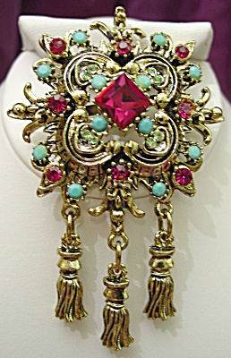 Exquisite Rhinestone and Faux Turquoise Drop Brooch (Image1)