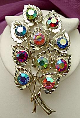 Vintage 1950s Aurora Borealis Heart Leaf Brooch (Image1)