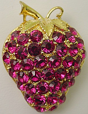 Eisenberg Ice Fushia Strawberry Brooch (Image1)