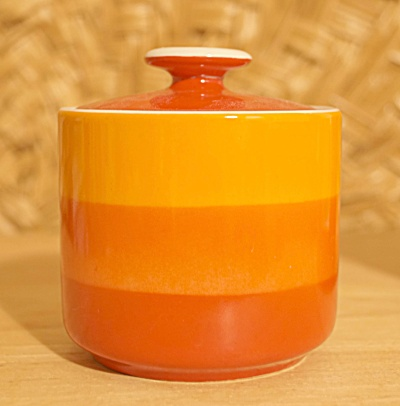 1960s Vibrant Orange To Reddish Orange Sugar Bowl With Lid