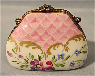 French Limoges Hand Painted Floral Miniature Purse