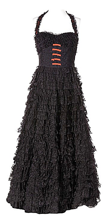 GLEE's Tina Cohen-Chang (Jenna Ushkowitz) Black Lace Floor Length Prom Dress Size 5/6 (Image1)