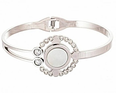 Lesa Michelle Open Circle Simulated Diamond Hinge Bangle Bracelet