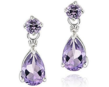 Sterling Silver 3 Carat Amethyst & Diamond Accent Teardrop Earrings (Image1)
