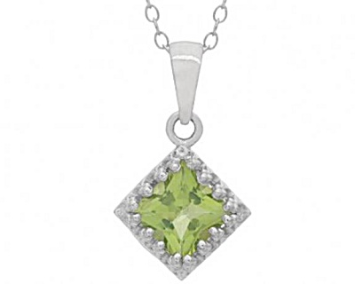 Ss Square Cut Peridot Gemstone Pendant By Brooklyn Studios