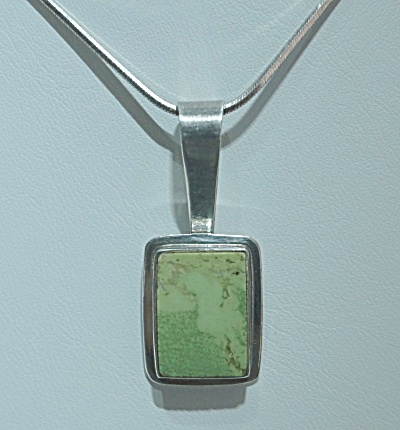 Sterling Silver Gaspeite Pendant Signed Ras