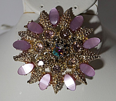 Pink Opalescent Oval Stones w/Rhinestones Starburst Brooch (Image1)