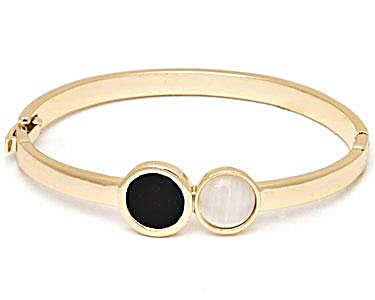 Sevil Designs Black And White Double Stone Bangle