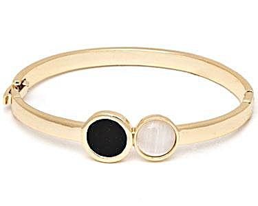 Sevil Designs Black and White Double Stone Bangle (Image1)