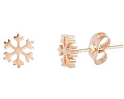 Lesa Michelle Stainless Steel Snowflake Stud Earring Rose Imitated Plating