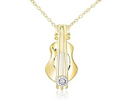 Gold Over Sterling Silver Diamond Guitar Pendant Necklace