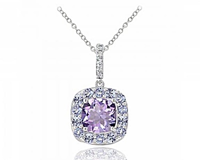 Sterling Silver 2.3ct Tgw Amethyst & Tanzanite Cushion Cut Necklace