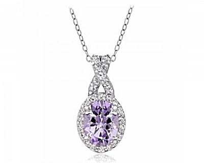 Sterling Silver 2.25ct Amethyst & White Topaz X And Oval Necklace
