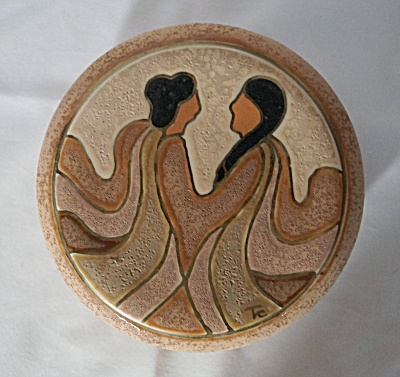 Native American Inspired Earthenware Round Covered Box by Linda (Image1)