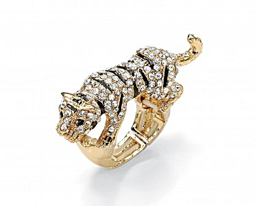 Crystal Tiger Stretch Ring in Yellow Gold Tone (Image1)