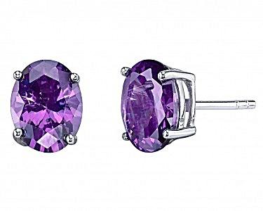 Lillian Grace Sterling Silver 1 Ct Amethyst Earrings (Image1)