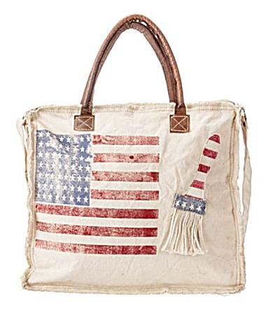Handmade American Flag Canvas Bag  (Image1)