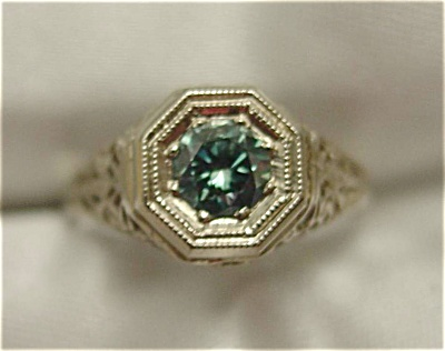 Vintage 14K White Gold Blue Diamond Ring (Image1)