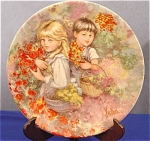 Click here to enlarge image and see more about item 017: ~Our Garden~ 1983 Wedgwood Plate by Mary Vickers