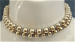 Click here to enlarge image and see more about item 025: Dbl Strand Faux Pearls w/ Rhinestone Rings Choker
