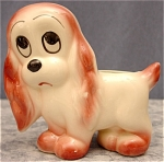 Click here to enlarge image and see more about item 028: Vintage Wide-Eyed Puppy Dog Planter