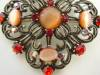 Click to view larger image of Orange Passion Vintage Inspired Catseye Brooch (Image5)