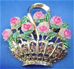 Golden Basket of Pink Roses Brooch
