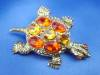 Click to view larger image of Golden Turtle Brooch with Amber and Citrine Rhinestones (Image4)