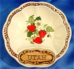 Click here to enlarge image and see more about item 070: Treasure Craft Utah Strawberry Trinket Tray / Dish